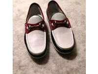 Mens designer gucci shoes loafers in white and maroon size 7