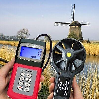 Thermo Anemometer Vane Probe Digital Deluxe Multi-function Speed Air Flow Meter