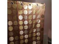 Lovely patterned Eyelet curtains, mink with green / silver / grey circles