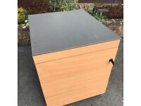REDUCED - Metal and wooden mobile four draw under desk pedestal