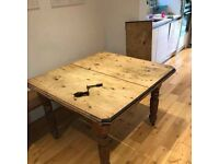 Antique pine dining table & chairs
