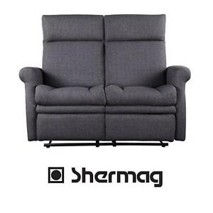 NEW* SHERMAG RECLINER LOVESEAT - 117394879 - GREY POLYESTER FABRIC MOTION RECLINERS LOVESEATS SOFA SOFAS LIVING ROOM ...