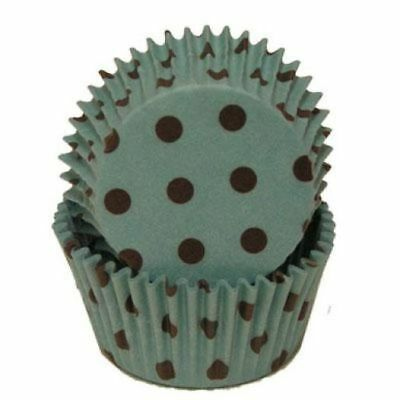 Hot Dots Aqua/Brown Standard Cupcake Liners Baking Cups Grease Proof Party](Aqua Cupcake Liners)