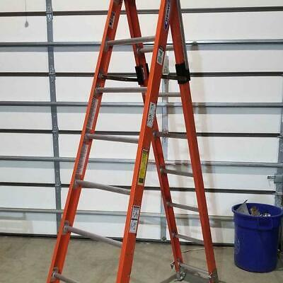 New 7808 Werner 8 Foot Step 16 Foot Straight Combination Step Extension Ladder