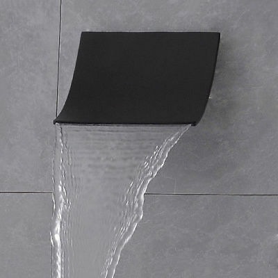 Wall Mount Stainless Steel Bathroom Waterfall Shower Head System Finished Black (Blackened Steel Finish Wall)