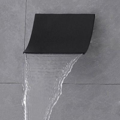 Modern Wall Mount Stainless Steel Waterfall Spout Shower Head Finished in Black (Blackened Steel Finish Wall)