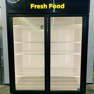 True Gdm-49-ld 2-section Glass Door Refrigerated Merchandiser 49 Cu Ft Tested