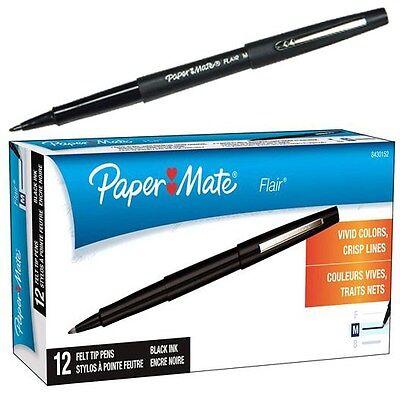 Paper Mate Flair Felt Tip Pen Black Ink Medium Point 8430152 Box Of 12