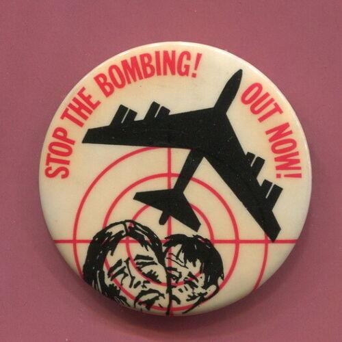 Circa 1969 - 1970   Anti Vietnam War  NPAC  Stop the Bombing  Cause Protest  Pin
