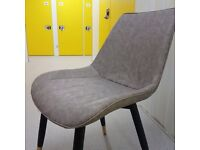 Brand new faux leather Chair in Grey with Gold legs, waterproof Seating, easy clean