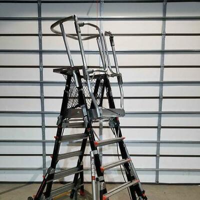 Little Giant 18509-240 5ft - 9ft Adustable Aerial Safety Cage Platform Ladder