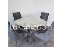 BRAND NEW MARBLE DINING TABLE WITH LION KNOCKER CHAIRS