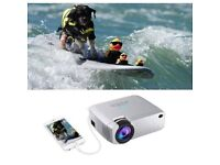 Portable Mini WiFi LED Projector with Speaker mirrors iphone, Android, pads to Watch Football