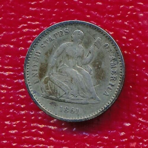 1861 SEATED LIBERTY SILVER HALF DIME **NICELY CIRCULATED** FREE SHIPPING*