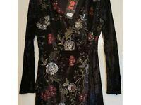 Black floral elastic dress 101 IDEES Size S/M