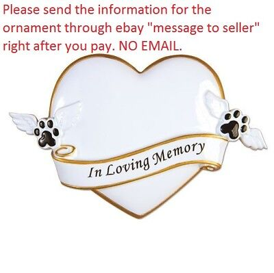 IN LOVING MEMORY OF MY PET DOG CAT HEART PERSONALIZED CHRISTMAS TREE ORNAMENT