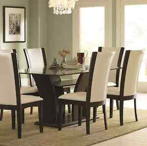 Gorgeous Glass Dining Table Set w/ Elegant pedestal & 4 chairs