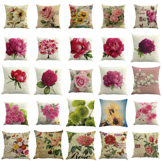 Floral Cotton Linen Square Home Throw Pillow Case Sofa Waist