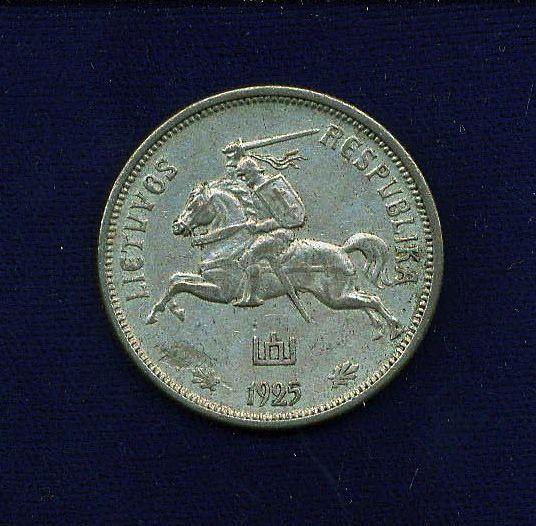LITHUANIA   1925   5 LITAI  SILVER COIN  XF+