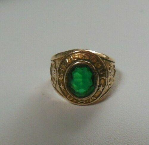 Vintage 10K Gold Filled Girl Scout Ring Green Stone Size 5