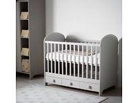 Brand New Grey Baby Cot with Mattress