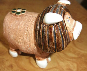 Bull with Daisy Figurine Made of Clay