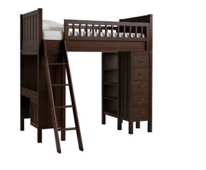 Pottery barn Bunk bed loft Chocolate brown
