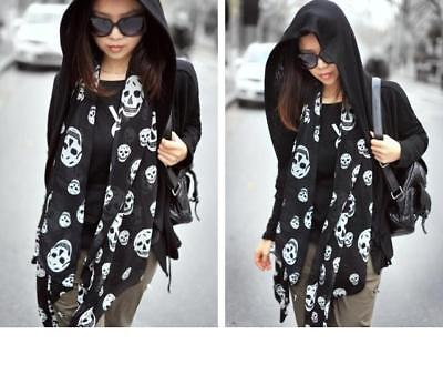 LADIES Mens Unisex lightweight SKULL SCARF black white