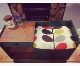 Upcycled telephone bench with table and chair, painted and reupholstered
