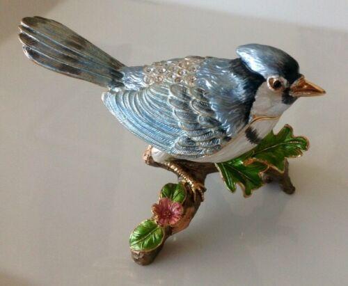 ENAMELED CIEL TRINKET BOX BLUE BIRD/SWAROVSKI CRYSTALS; TREE OF LIFE; BIN