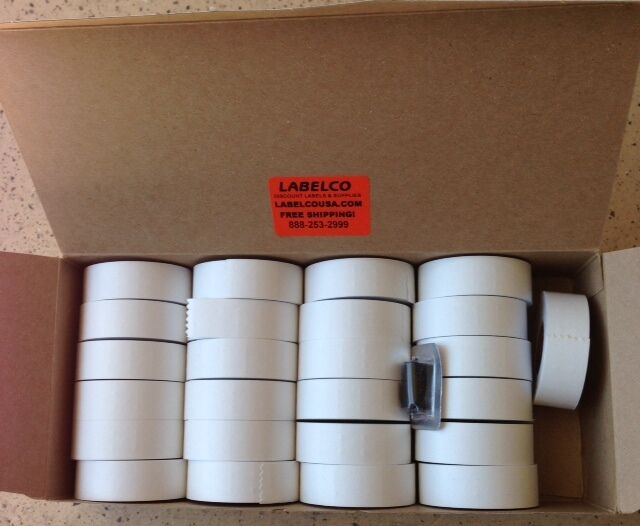 GARVEY 18-6 18-12 WHITE LABELS 1,200/ROLL 36,000/BOX *NEW STOCK* WITH INK ROLLER