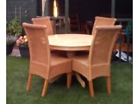 Table round beech & 4 wicker chairs, dining room, kitchen, conservatory furniture home caravan,