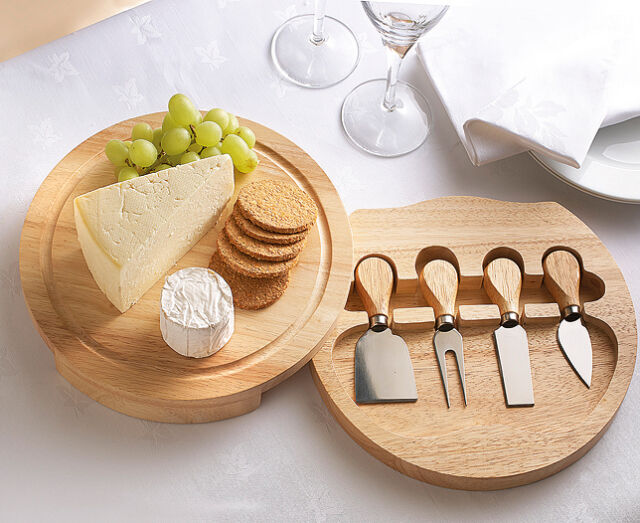 Apollo 5pcs Hevea Wood Cheese Serving Set With Integrated
