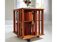 NEW Revolving Bookcase / SideTable. Cherry veneer, Pine shelves. On casters, rotates 360 degrees