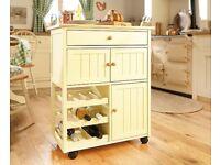 Solid Wood Kitchen Storage Trolley
