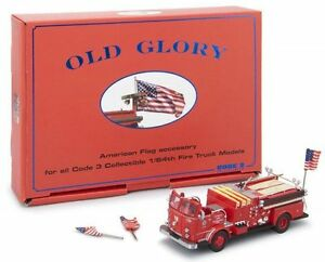 Code 3 1/64 Old Glory US Flags Set - Dress Up Your Model Fire Truck