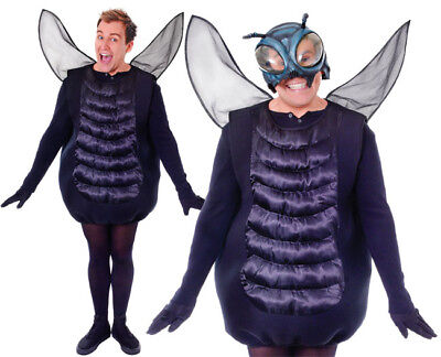 Adult Black The Fly Fancy Dress Costume Halloween Bug Insect Costume Mens Ladies](The Fly Costume)
