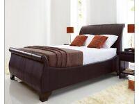 Kaydian Bamburgh 6ft Super Kingsize Brown Leather Sleigh Bed Frame