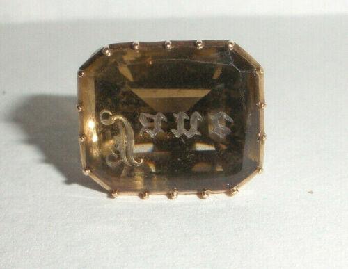 Fine antique Victorian 14k gold wax seal amethyst ? fob charm