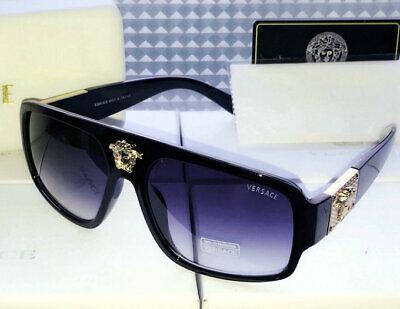 New Men Versace Sunglasses Black-Less golden/Black Men Sunglasses 57mm