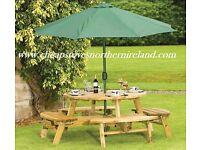 GARDEN PUB PICNIC 8 SEATER BENCH !!! REDUCED patio paving shed sun room not rattan garden furniture