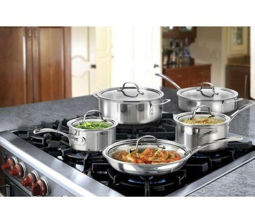 NEW Calphalon 10 Piece Tri-Ply Cookware Set, Medium, Stainless Steel Sauce Saute