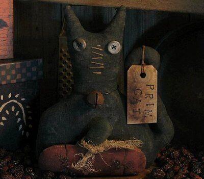 PATTERN Primitive Extreme Stumpy Halloween Black Cat Doll & Pumpkin Ornie