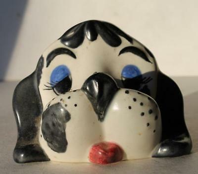 Puppy Dog Figurine Eye Glasses Holder Ceramic-Porcelain Hand Painted Black-White