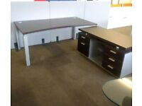 Walnut Manager Desk & Credenza Set 1800mm x 1000mm