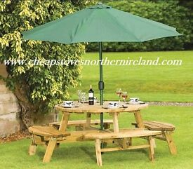 EX DISPLAY GARDEN PATIO FURNITURE TABLE CHAIR PICNIC BENCH GREY RATTAN SOFA BENCH - CAN DELIVERY