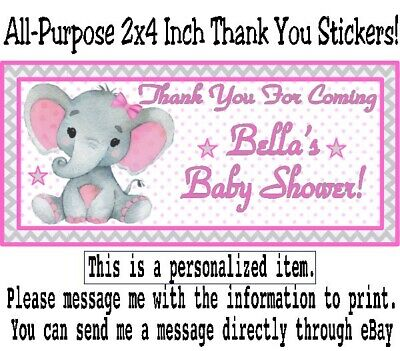 20 Elephant Baby Shower Birthday Party Thank You Stickers Labels Pink Gray Girl (Pink Gray Elephant Baby Shower)