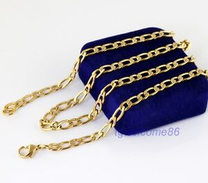Fashion Flat Curb Chain Necklace 18K Gold Plated Stainless Steel Jewelry Gift