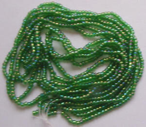 IRIDESCENT-AB-EMERALD-GREEN-SPARKLE-VINTAGE-12-0-GLASS-SEED-BEADS-HANK-LOT