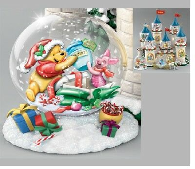 BRADFORD DISNEY WATER GLOBE 4 CASTLE PARTY POOH & PIGLET WRAPPED UP - HOLIDAY
